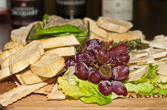 Appetizers for wine tasting event Royalty Free Stock Photos