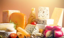 Appetizing. Assortment background board brie calcium camembert Royalty Free Stock Images