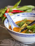 Appetizing Asian Food on White Bowl on Table Stock Photos