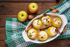Appetizing baked apples with cottage cheese Royalty Free Stock Photo