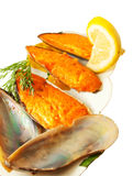 Appetizing baking mussels under roe isolated Stock Photo