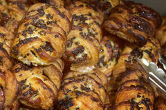 Appetizing biscuit and sweet pastries, delicious fresh rolls with chocolate Stock Photography