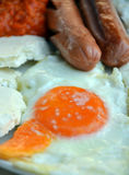 Appetizing breakfast with fried sausages. Pic of a Appetizing breakfast ffried sausages royalty free stock images