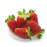 Appetizing brightly red strawberry on a white background. Ripe strawberries on a white background Stock Photo
