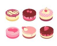 Appetizing cakes. Six appetizing cheesecakes isolated on white royalty free illustration