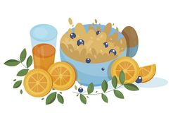 Appetizing cereal with blueberry for breakfast. Appetizing porridge with blueberry and orange juice and hard boiled egg for breakfast. Awesome cartoon side view vector illustration