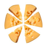 Appetizing cheese. Appetizing pieces isolated on white background Royalty Free Stock Photos