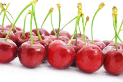 Appetizing cherries. Closeup of some appetizing cherries on a white background Royalty Free Stock Photo