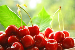 appetizing cherries on plate Royalty Free Stock Photo