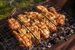 Appetizing chicken legs on the grill. Royalty Free Stock Images