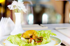 Appetizing Chicken Meat Dish with Fresh Lettuce Stock Photo
