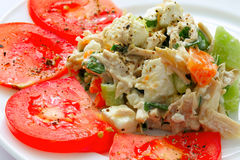 Appetizing chicken salad decorated with tomatoes. Isolated on white plate Royalty Free Stock Image