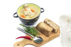 The appetizing chicken soup in a bowl close-up royalty free stock images