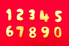 Appetizing cookies in shape numerals Royalty Free Stock Photos