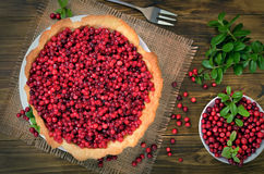 Appetizing cowberry pie. And fresh berries cowberry on wooden background, top view stock photo