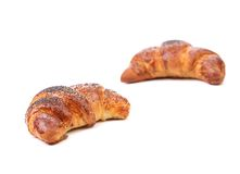 Appetizing croissant with poppy. Stock Photo
