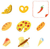 Appetizing culinary icons. Set of vector icons with objects baking and ingredients and cooking royalty free illustration