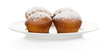 Appetizing cupcake on dish Stock Photo
