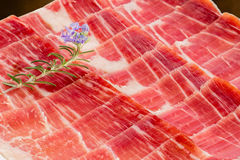 Appetizing cut pieces of Spanish cured pork ham. Stock Photography