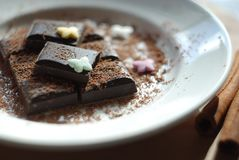 Appetizing dark chocolate dessert on a white plate royalty free stock images