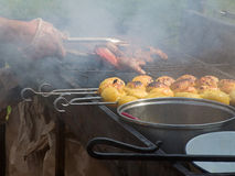 Appetizing delicious fried meat and potatoes on a barbecue grill outdoors. Royalty Free Stock Photos