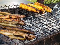 Appetizing delicious fried seafood, fishand, corn on a barbecue grill outdoors. Royalty Free Stock Photography