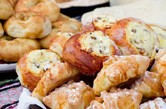 Appetizing delicious pastries and cakes at the fair. Stock Photos