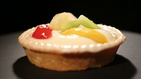 Appetizing dessert with fruit, irresistible temptation, passion for sweets stock video