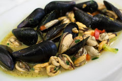 Appetizing dish with mussels Stock Photography
