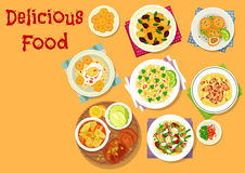 Appetizing dishes icon for lunch menu design. Appetizing lunch dishes icon with chicken in cream sauce, beef stew with corn, potato salad with olives, rice with Royalty Free Stock Photography