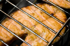 Appetizing fish. On a grill. Outdoor picnic. Close-up Royalty Free Stock Photo