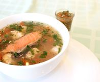 Appetizing fish soup with pieces of red fish. stock photos