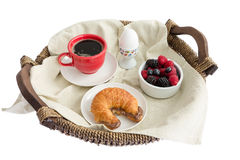 Appetizing Food on Rustic Breakfast Tray Royalty Free Stock Images