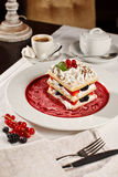 Appetizing french millefeuille dessert Royalty Free Stock Images