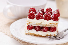 Appetizing french millefeuilles dessert. Appetizing french millefeuilles raspberry dessert ready to eat Stock Image