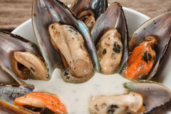 Appetizing fresh clam soup. Mediterranean cuisine. Delicious boiled mussels served with cream sauce on white round plate, close up view. Luxury restaurant menu Stock Photo