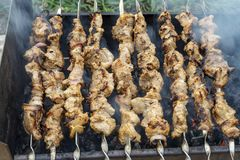 Appetizing fresh meat kebab with burnt crust is fried on the grill. Delicious food on a picnic. Traditional Russian shashlik on a royalty free stock image