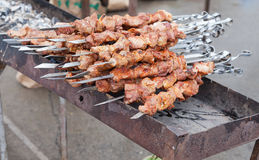 Appetizing fresh meat shish kebab prepared on a grill Stock Photography