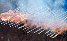 Appetizing fresh meat shish kebab (shashlik) Royalty Free Stock Image