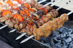 Appetizing fresh meat shish kebab (shashlik) Royalty Free Stock Photo