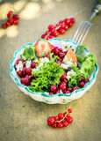 Appetizing Fresh Summer Salad in Bowl Stock Photo