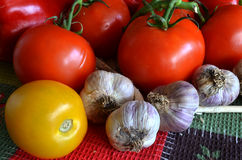 Appetizing fresh vegetables on a bright tablecloth Royalty Free Stock Images