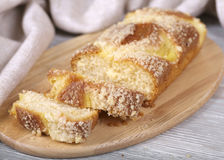 Appetizing fruitcake. Tasty fruitcake, fresh baking, crumbs on a board Stock Images