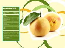 Appetizing grapefruit nutrition facts. Creative Design for appetizing grapefruit with Nutrition facts label Stock Photo