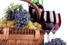 Appetizing grapes in a basket Royalty Free Stock Image