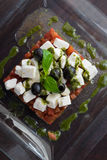 Appetizing greek salad. With goat cheese Royalty Free Stock Photos