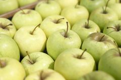 Appetizing green apples in supermarket Royalty Free Stock Photo