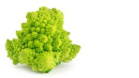 Appetizing green cathedral broccoli isolated on white background, health food. copy space, template. Appetizing green cathedral broccoli isolated on white Stock Images