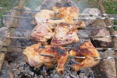 Appetizing grilled chiken kebab. On metal skewers Royalty Free Stock Photo