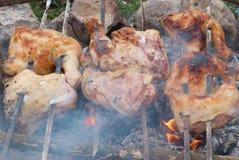 Appetizing grilled chiken kebab. On metal skewers Royalty Free Stock Images